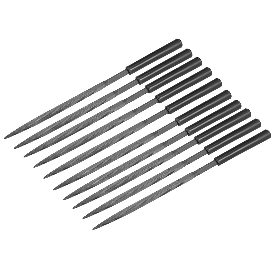 uxcell 10Pcs Second Cut Steel Triangular Needle File with Plastic Handle, 5mm x 180mm