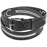 Black Solid Leather Belt Western Tooled Basket Weaved with a Removable Buckle