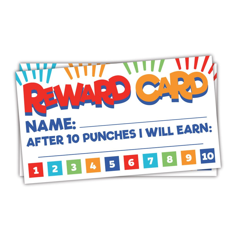 50 Fun Reward Punch Cards for Teachers and Students - Classroom and Homeschool Behavior Management Incentive Cards