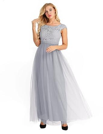 647b8b22316 IEFIEL Lace Robe Demoiselle d honneur Femme Taille Haut Robe Elegant Maxi Longue  Robe de