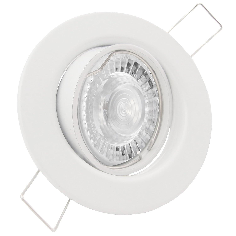 5er Set (3-8er Sets) Einbaustrahler DECORA; 230V GU10; SMD LED 7,5W = 70W; DIMMBAR; Warm-Weiß; WEISS; schwenkbar, Leuchtmittel austauschbar; Einbauleuchte Einbauspot Downlight