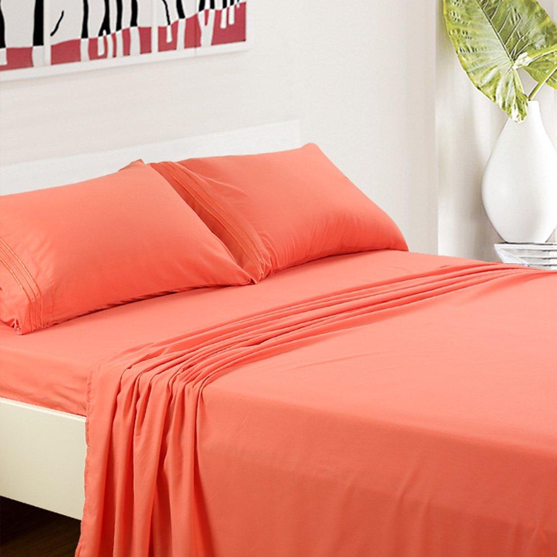 TasteLife 105 GSM Deep Pocket Bed Sheet Set 3 Piece Coral, Twin