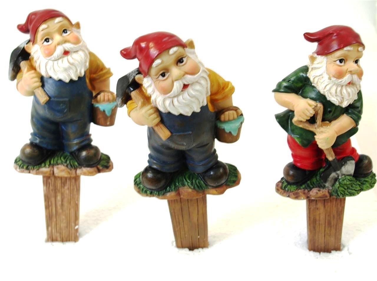 Set of 3 Large Garden Gnome Plant Pot Sticks Plant Pot Character Gnomes Ornament Sherwood