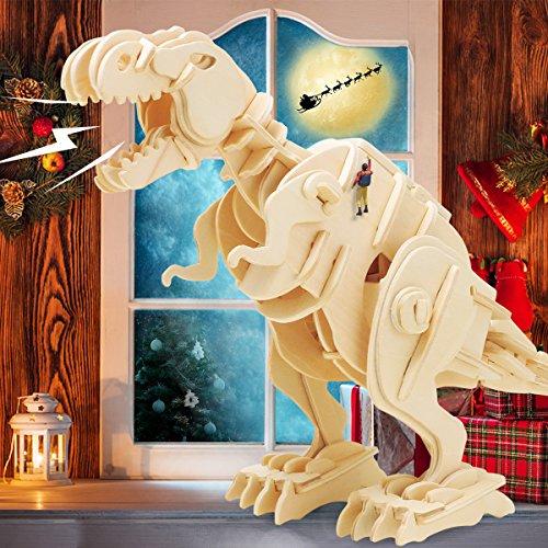 ROBOTIME 3D Wooden Dinosaur Puzzle Sound Control Robot Walking T-Rex Birthday Gifts for Children (Christmas Wooden Ideas Craft)