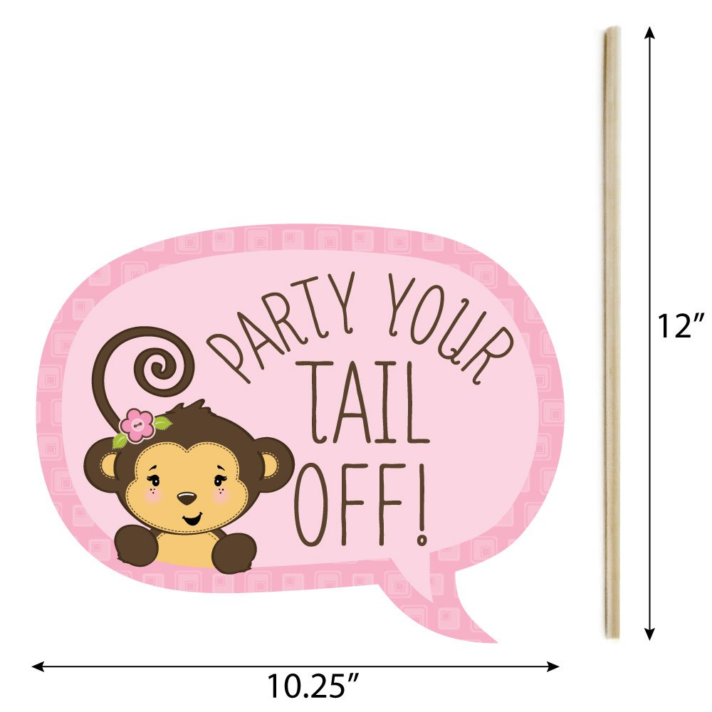Funny Pink Monkey Girl - Baby Shower or Birthday Party Photo Booth Props Kit - 10 Piece by Big Dot of Happiness (Image #3)