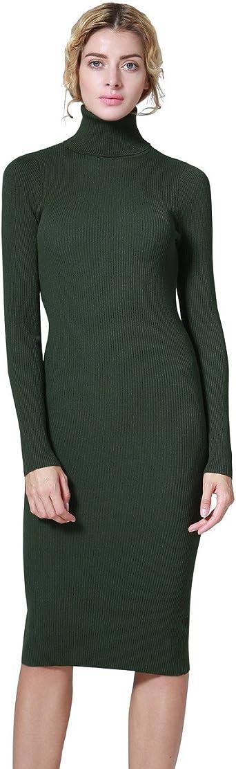 Ninovino Women's Turtleneck Ribbed Long Sleeve Bodycon Jumper Sweater Dress Green XL