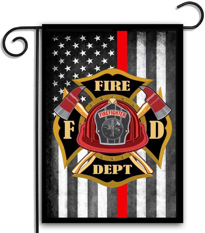 "UTF4C Thin Red Line Maltese Cross American Firefighter Yard Garden Flag 12"" x 18"" | Thin Red Line Flag | Fire Department Flag | American Flag - 18"" x 12"""