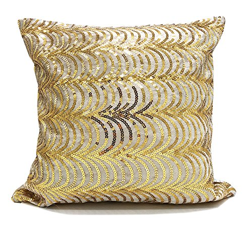 Fennco Styles Elegant Handmade Sequin Velvet Shiny Decorative Throw Pillow (Gold, 16