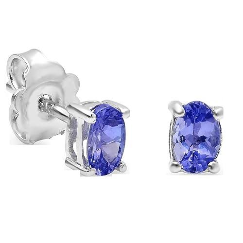 Genuine Oval Tanzanite Stud Earrings in Sterling Silver 6 x 4mm 7 8ct tw