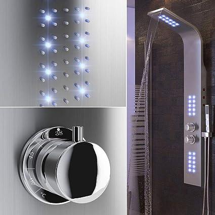 Panel de Hidromasaje Ducha con Iluminación LED Púrpura, Control de Termostato, Ducha de Mano, Mampara de Bañera para Baño/Hotel/Gimnasio (136 x 22 x 45 cm, Purple LED): Amazon.es: Bricolaje y herramientas