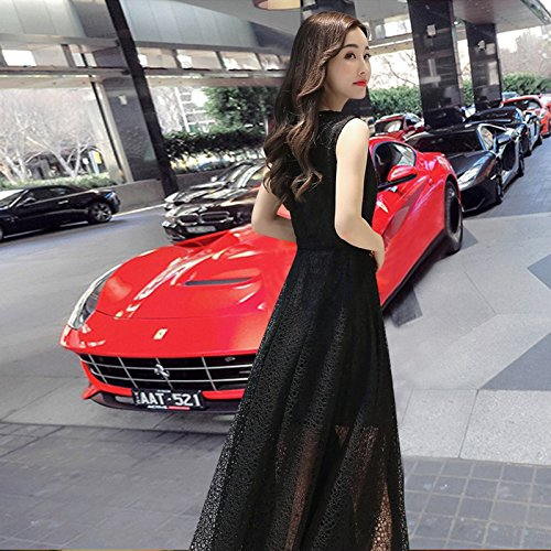 Longue S Longue Black Robe en Dentelle Robe sans Manches du MiGMV Jupe Genou Spot Noire Taille F8O6WXxU