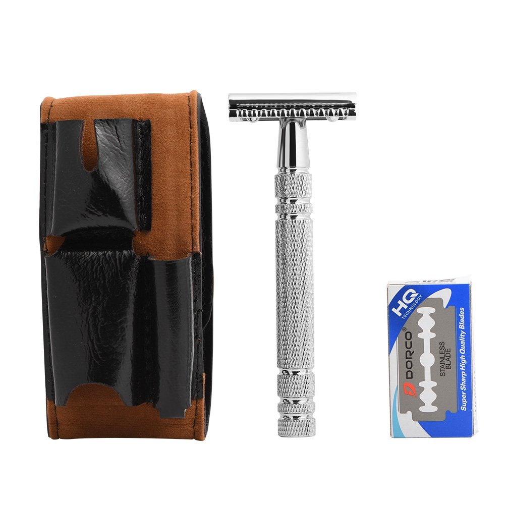 Men Razor, Safe Shaving Bead Double Edge Hair Removal Shaving Classic Style with 10 Blades and Storage Bag Yotown