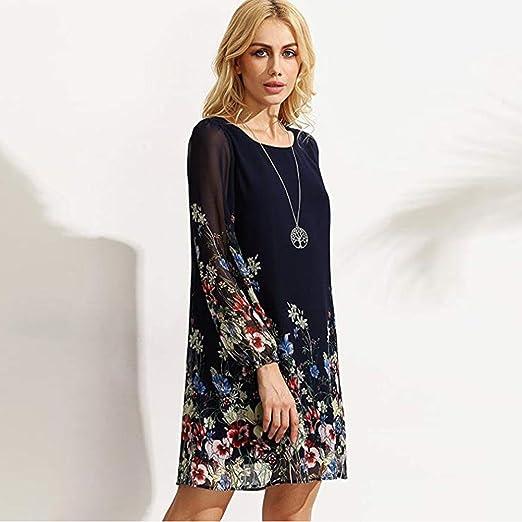 ❤ Mini Vestido de Gasa de Mujer, Estampado Floral de Tres Cuartos o Cuello Holgado Absolute: Amazon.es: Ropa y accesorios