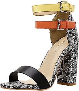 Malbaba Open Toe 2-Strap Buckle Ankle Block Snake Print Chunky Heel Pump Sandals