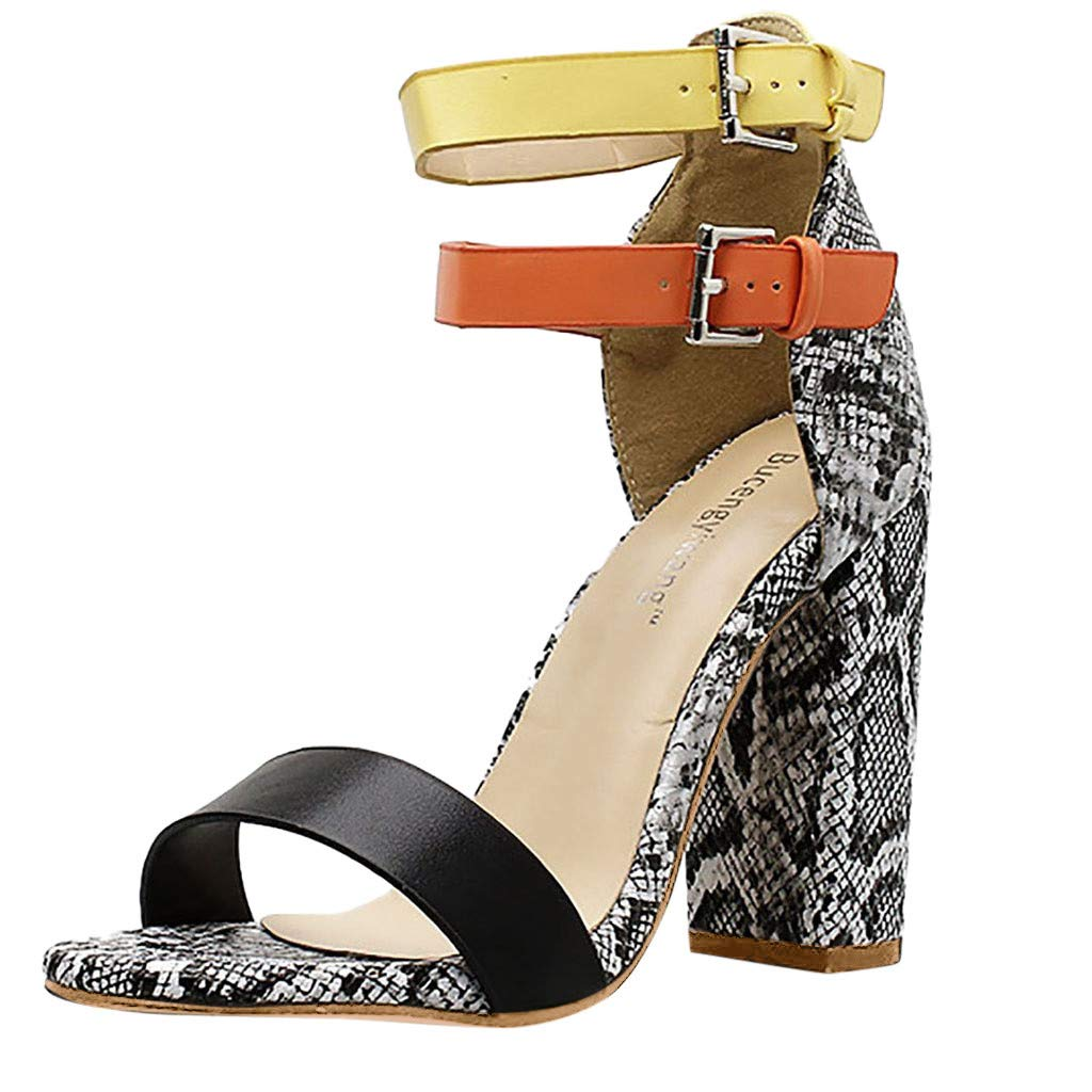 Sanyyanlsy Womens Snakeskin High Heel Single Band Sandals Double Buckle Strap Ankle Strap Sandals Mixed Color Club Party Gray by Sanyyanlsy