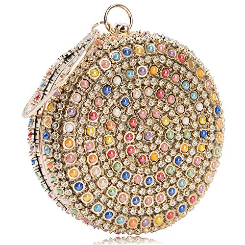 Women Evening Bag Round Rhinestone Crystal Clutch Purse Ring Handle Handbag for Wedding Prom Party (Colorful)