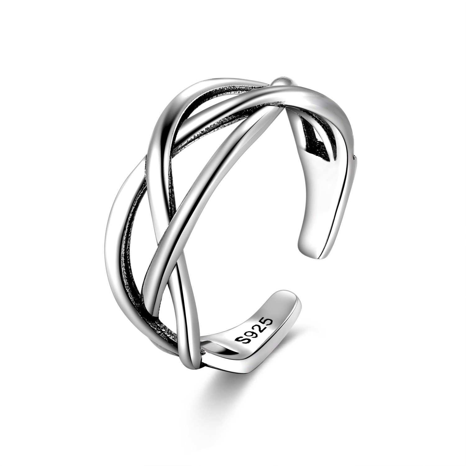 Candyfancy Love Celtic knot ring 925 Sterling Silver Open toe ring Adjustable For Women Girls size 4-6 (Three lines crossed)