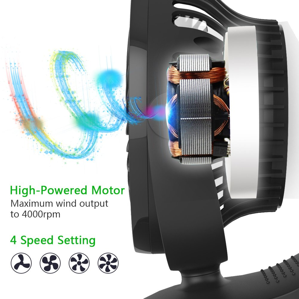 OPOLAR Battery Operated Fan, Clip on and Desk Fan, Personal Portable Fan with 4 Speeds, Rechargeable, 360 Degree Rotation, 2200mAh Battery, Powerful Wind for Baby Stroller,Outdoor Activity, Office by OPOLAR (Image #3)