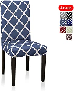 4 Pack Dining Chair Covers, Stretch Dining Chair Slipcovers for Kitchen Hotel Table Removable Washable Geometric Printed (4 Per Set, Lake Blue)