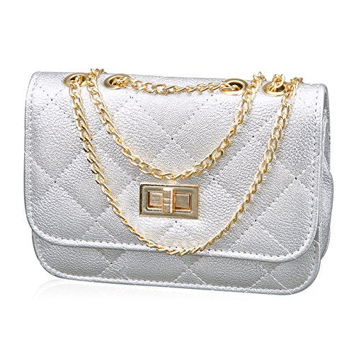 HDE Women's Small Crossbody Handbag Purse Bag with Chain Shoulder Strap (Silver) by HDE (Image #5)