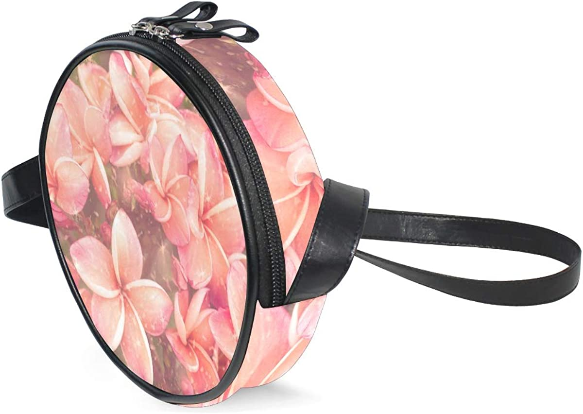 ATONO Beautiful Plumeria Flowers Crossbody Bags Round Purse Wallets Handbag Totes Shoulder Bag Zipper Canvas PU Belt Adjustable for Lady Girls Womens