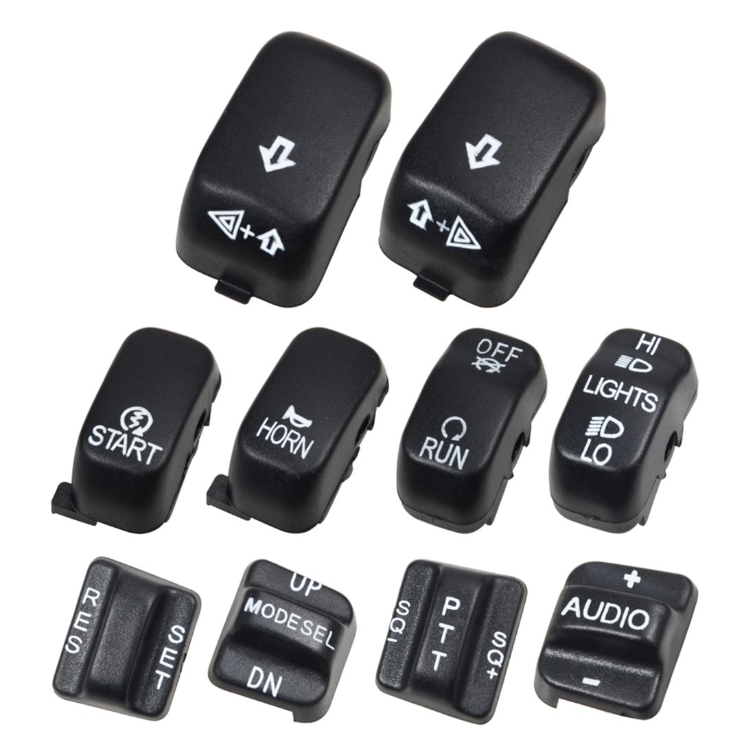 Clipsone Black 10 Pcs Switch Housing Caps Covers for Harley Touring Road Electra Street Glide 1996-2013