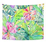 TOMPOP Tapestry Tropical Watercolor Thailand Palm Monstera Hibiscus Banana Tree Exotic Swimwear Summer Hawaiian Aloha Home Decor Wall Hanging for Living Room Bedroom Dorm 50x60 Inches