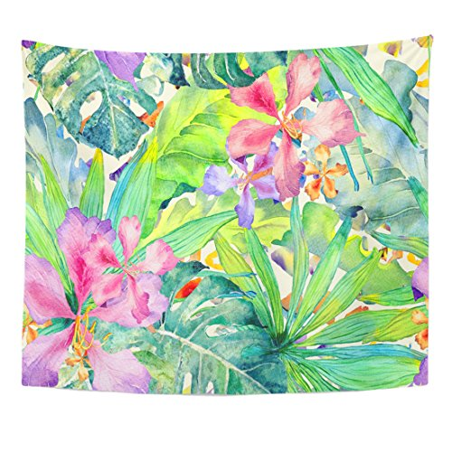 TOMPOP Tapestry Tropical Watercolor Thailand Palm Monstera Hibiscus Banana Tree Exotic Swimwear Summer Hawaiian Aloha Home Decor Wall Hanging for Living Room Bedroom Dorm 50x60 Inches by TOMPOP