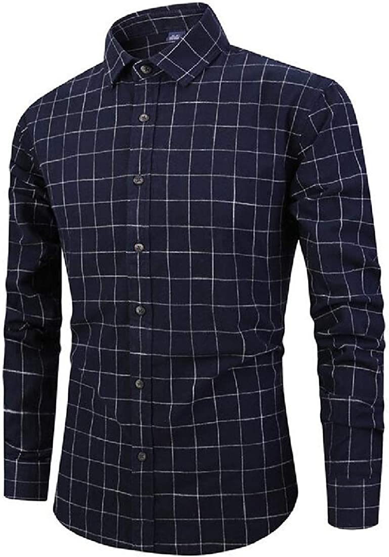 SHOWNO Mens Cotton Plaid Print Long Sleeve Casual Relaxed Fit Button Down Dress Work Shirt