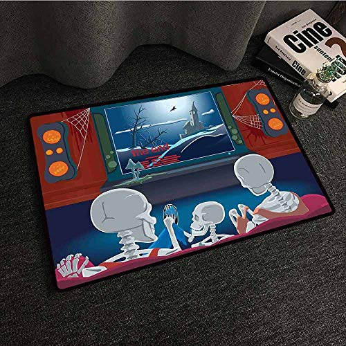 Rug Bathroom Mat Movie Theater,Family of Skeletons Sitting on a Sofa and Watching a Fantastic Movie at Home,Multicolor,W35 xL47 American Floor mats