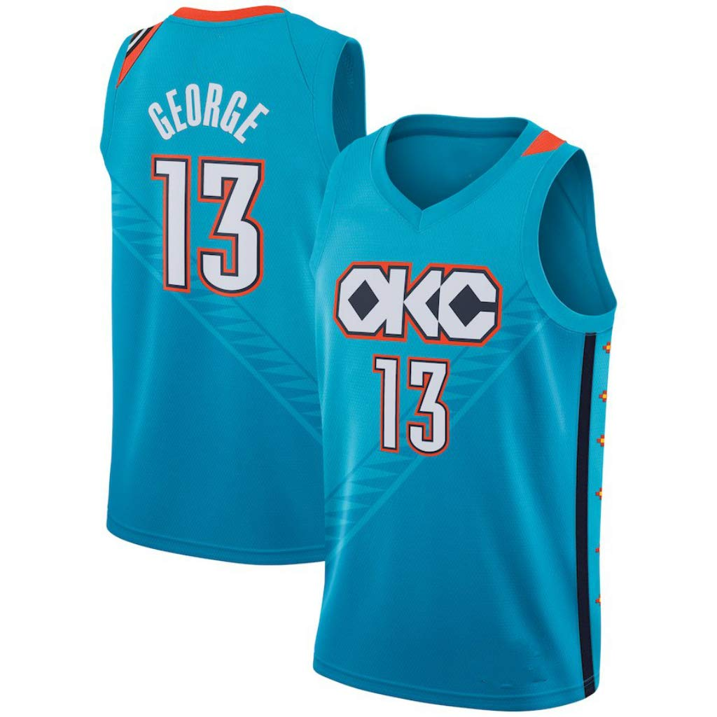 best authentic 66703 ea242 Paul George, Basketball Jersey, Thunder, New Fabric ...