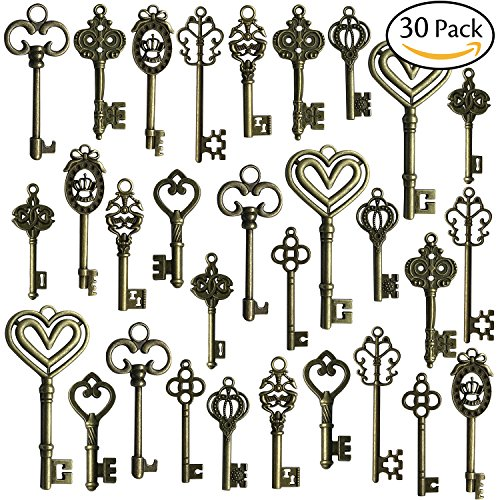 Hibery Mixed Set of 30 Antique Bronze Vintage Skeleton Keys - Decorative Old Fashioned Key for Necklace Bracelets Pendants Jewelry DIY Making Supplies Party - Mixed Antique