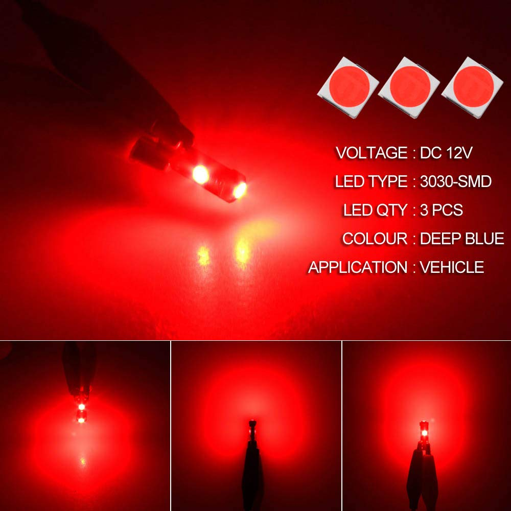 DODOFUN Red T5 37 74 LED Bulb with Twist Lock Socket PC74 PC37 Dashboard Instrument Panel Gauge Cluster Light Pack of 10 MAOXIN