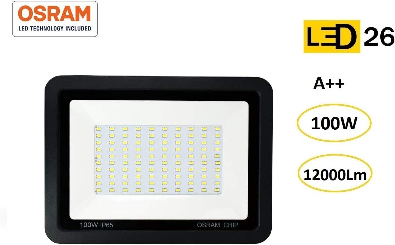 Foco LED exterior 100W OSRAM alto brillo Proyector LED exterior impermeable IP65 Luz Blanco frío 6500K patio, jardín, tienda