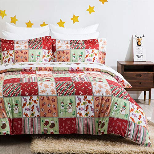 Bedsure Christmas Duvet Cover Set, King (104×90 inches) - Reversible Festival Pattern - Soft Microfiber Comforter Cover, 3 Pieces Bedding with 1 Duvet Cover (No Comforter Insert), 2 Pillow Shams (And Duvet Quilt)