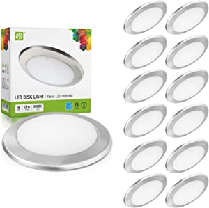 ASD 12 Pack 6 Inch LED Disk Light, Dimmable Low Profile Ceiling Light, Brushed Nickel Finish Flush Mount Fixture, 15W(100W Eq.), 1300 Lm, 5000K, J-Box or Recessed Can, Wet Location-ETL&Energy Star