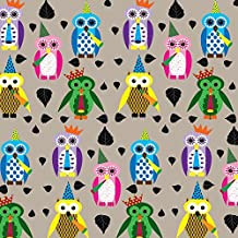 Cute Owl Design Birthday Wrapping Paper - 6 ft Roll