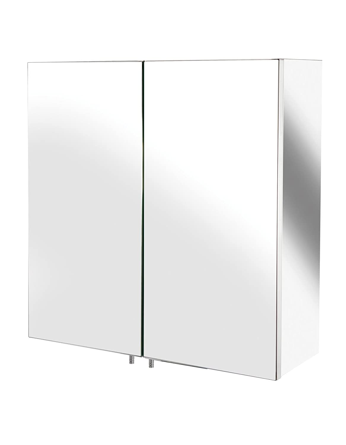 Bathroom Mirror Cabinet Wall Storage Furniture 600 X 550 Mounted Hung  Recessed Large Modern Designer Glass 2 Door With Stainless Steel Frame