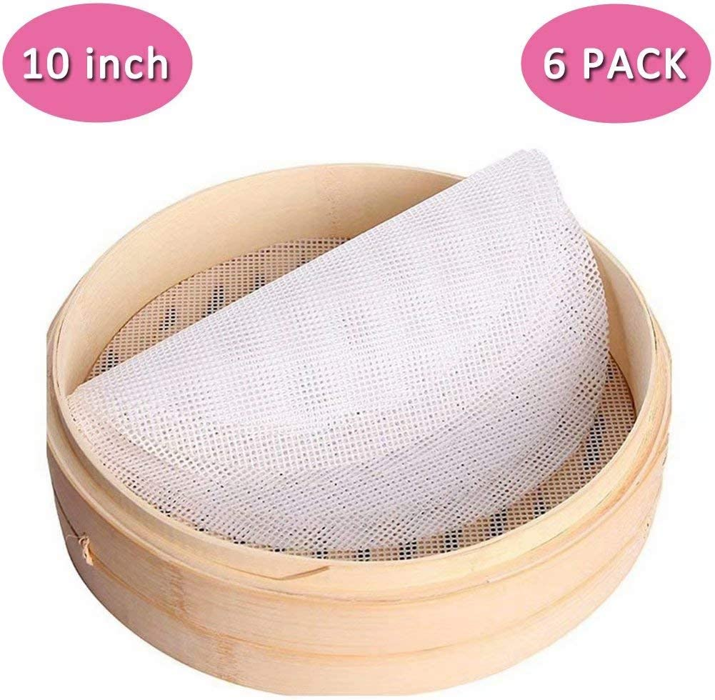 """Silicone Steamer Mat, Silicone Steamer Liner 10 Inch, Set of 6 Silicone Steamer Mesh Non-Stick Pad For Bamboo Steamer Basket (10"""" Diameter)"""