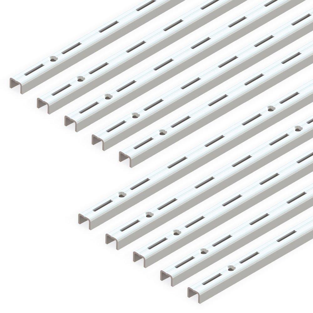 250mm Bianco Set di 20 pezzi Emuca 7908112 Supponti per mensola con profilo cremagliera perforazione semplice passo 50mm