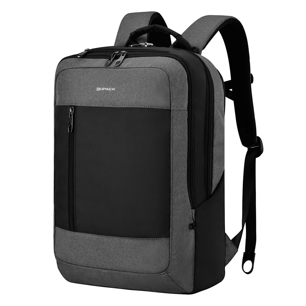 Kopack Business Laptop Backpack USB Side Load Anti Theft Back Pack Slot City Commuter Backpack for 15.6 inch Grey Black