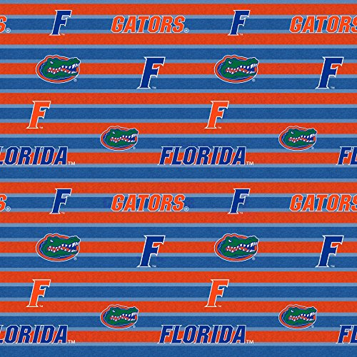 - UNIVERSITY OF FLORIDA FLEECE BLANKET FABRIC- FLORIDA GATORS FLEECE FABRIC WITH AWESOME POLO STRIPE=SOLD BY THE YARD