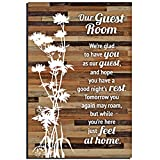 Guest Room Wood Plaque Lovely Inspiring Quotes 6x9 Inch - Classy Rustic Vertical Frame Wall and Tabletop Decoration with Easel & Hanging Hook | Our Guest Room - We're Glad to Have You as Our Guest