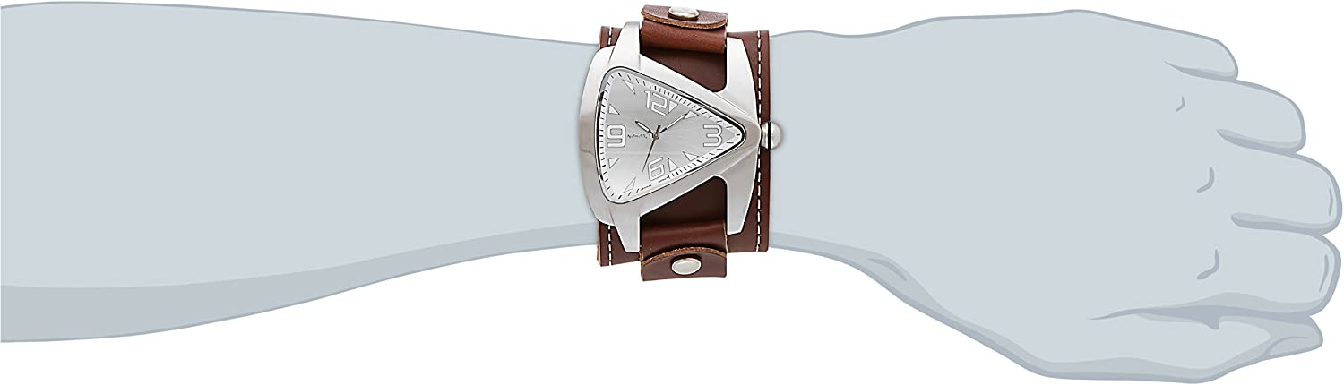 Nemesis Men s BLBB011S Oversized Collection Brown Triangle Leather Band Watch