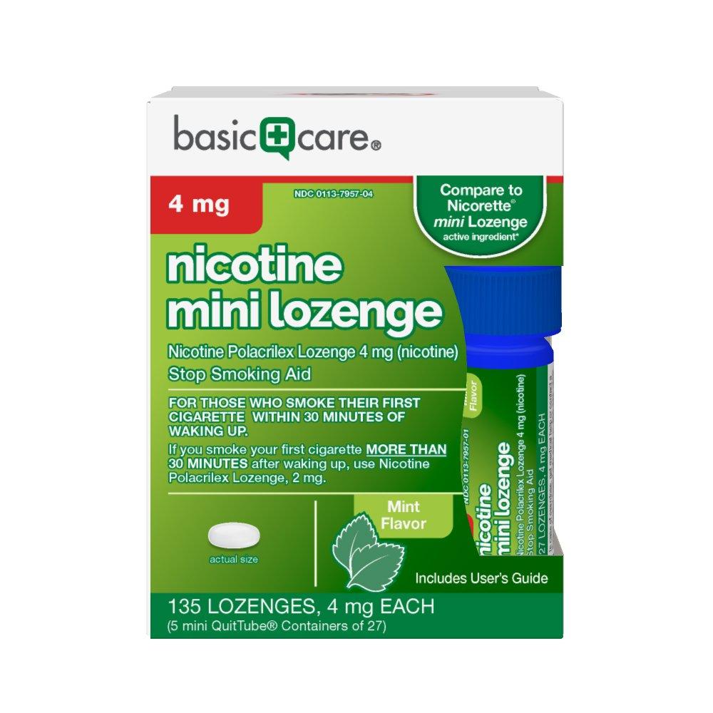Basic Care Nicotine Mini Lozenge 4 mg, Stop Smoking Aid, Mint, 135 Count by Basic Care