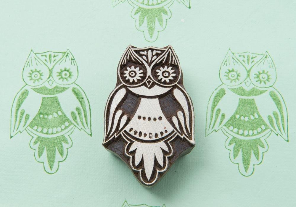 Blockwallah Cute Owl Wooden Block Stamp