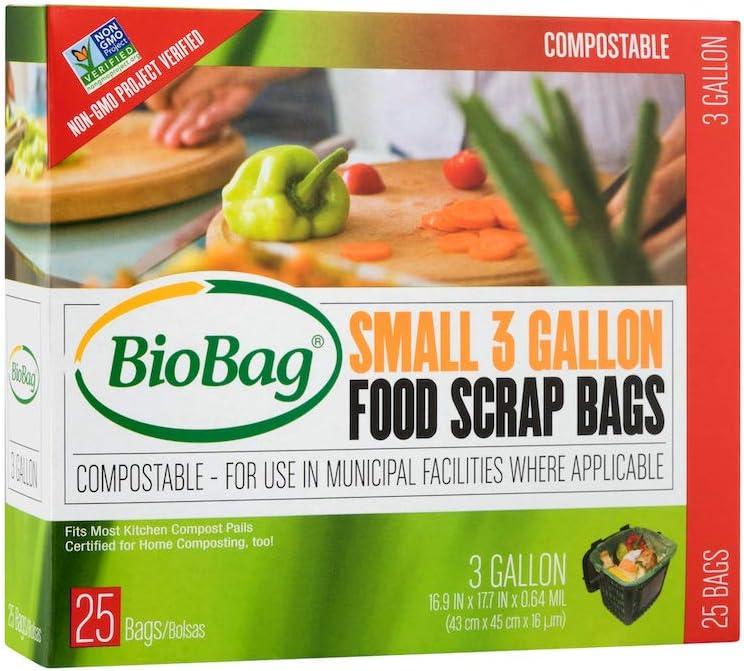 BioBag Small Food Scrap Bags, 3 Gallon 25 Ea (Pack of 6)