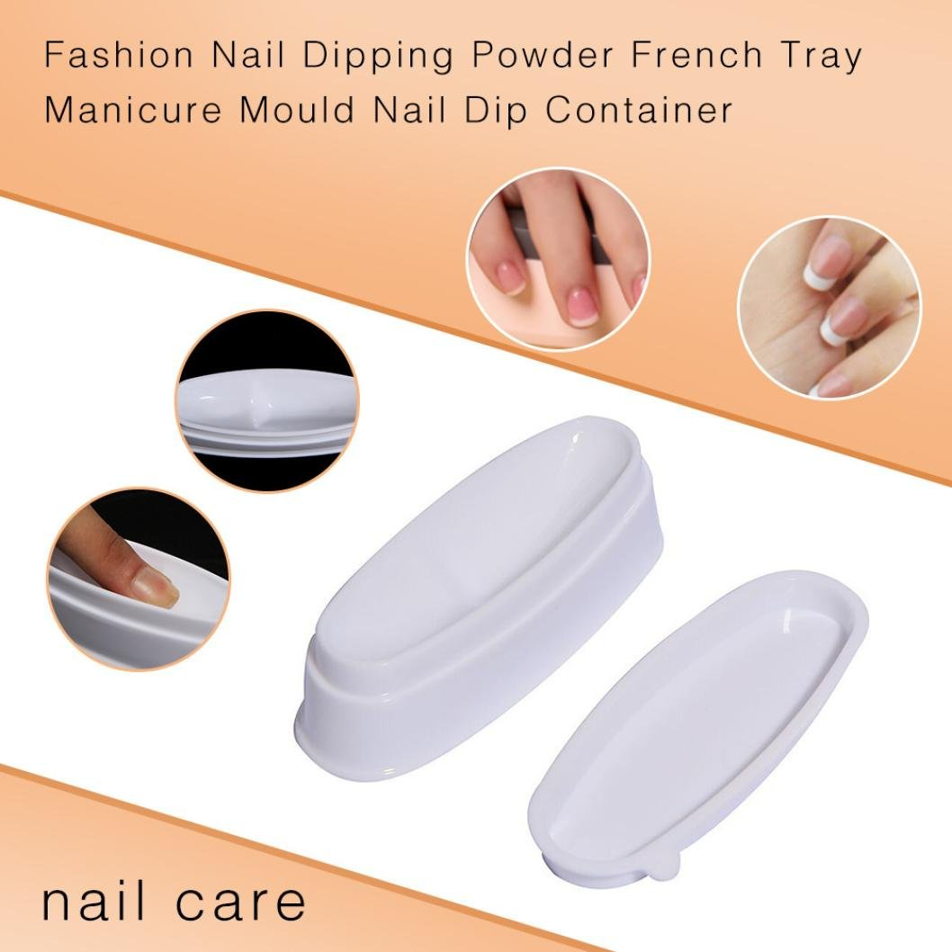 Nail Art Equipment French Nail Line Mold, Nail Decals And Decorations Fashion French Nail Dipping Powder Container French Nails Tray Manicure Molding Tips Finger Guides Nail Line (White) BeautyYou