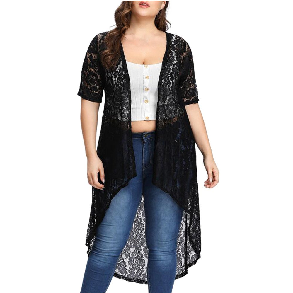 CofeeMO Women's Black Lace Casual Beach Cover Up//Plus Size Loose Shawl Cardigan Tops Beachwear(Black,3XL)