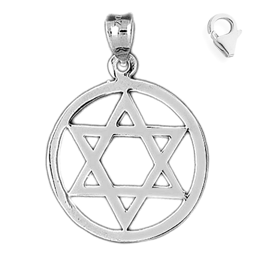 JewelsObsession Sterling Silver 31mm Star of David Charm w//Lobster Clasp